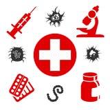 Medyczne ikony z sprzętem medycznym ilustracja wektor