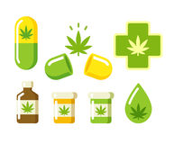Medyczne marihuan ikony Fotografia Royalty Free
