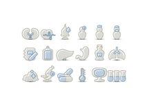 Medyczne szare błękitne ikony Fotografia Royalty Free