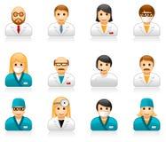 Medycznego personelu avatars - użytkownika lekarki i pielęgniarki ikony royalty ilustracja