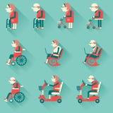 Medycznego szpitala niepełnosprawni equipments łatwe tło ikony zamieniają przejrzystego cienia wektor Obraz Royalty Free