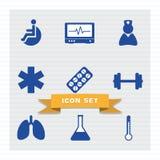 Medycznej ikony mieszkania ustalony styl royalty ilustracja