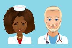 Medycznej kliniki personelu płascy avatars lekarki, pielęgniarki, chirurg, a Obrazy Royalty Free