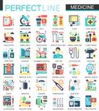 Medyczni i opieka zdrowotna wektorowi powikłani płascy ikony pojęcia symbole dla sieć infographic projekta royalty ilustracja