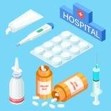 Medyczni narzędzia i leki, witaminy Wektorowa isometric medycyna ilustracja wektor