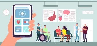 Medyczny app Opieka zdrowotna telefonu komórkowego zastosowanie Pacjent i pielęgniarka w doktorskiej poczekalni w szpitalu Wektor ilustracja wektor