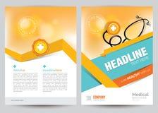 Medyczny broszurki ulotki układu szablon, A4 rozmiar Zdjęcia Stock