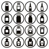 Medyczny butelki ikony set royalty ilustracja