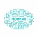 Medyczny, gynecology sztandaru ilustracja Położnictwo wektoru linii ciążowe ikony badają, w Vitro nawożeniu Fotografia Royalty Free