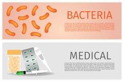 Medyczny i bakterie sztandar Zdjęcie Stock
