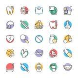 Medyczny i zdrowie Cool Wektorowe ikony 9 Zdjęcia Stock