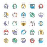 Medyczny i zdrowie Cool Wektorowe ikony 5 Obrazy Stock