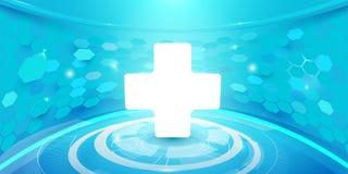 Medyczny krzyża i technologii techniki pojęcia cyfrowy tło cześć Zdjęcie Stock