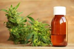Medyczny marihuana oleju ekstrakt i konopiana roślina Zdjęcia Royalty Free