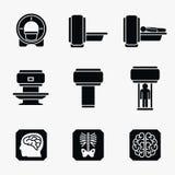 Medyczny MRI przeszukiwacza diagnostyk łatwe tło ikony zamieniają przejrzystego cienia wektor ilustracji