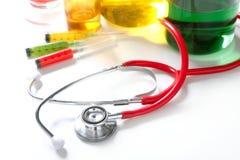 medyczny nad fotografii stetoskopu wciąż biel Zdjęcia Stock