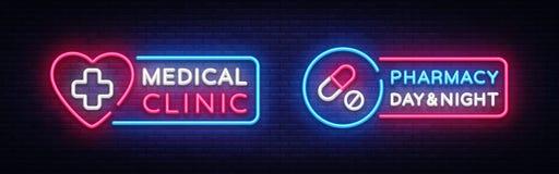 Medyczny neonowego znaka projekta szablon Apteka neonowy emblemat, lekki sztandar Online konsultacja również zwrócić corel ilustr ilustracji