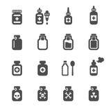 Medyczny pigułki butelki ikony set, wektor eps10 Zdjęcie Royalty Free