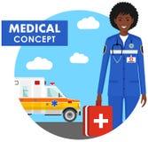 MEDYCZNY pojęcie Szczegółowa ilustracja nagły wypadek lekarki kobieta w mundurze na tle z ambulansowym samochodem w mieszkanie st ilustracja wektor