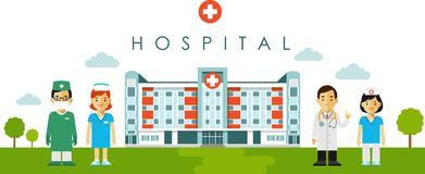Medyczny pojęcie z szpitalnym budynkiem i lekarka w mieszkaniu projektujemy Obrazy Royalty Free