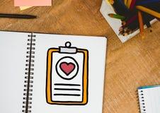 Medyczny schowka doodle na notepad obok ołówków Obraz Royalty Free
