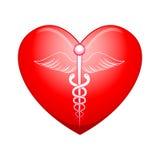 Medyczny symbol na sercu ilustracja wektor
