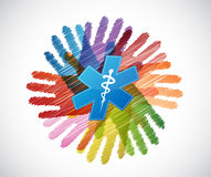 medyczny symbol nad różnorodność ręk okręgiem royalty ilustracja