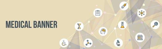 Medyczny sztandar z poligonalnymi projekta i zdrowie ikonami Obrazy Stock