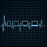 Medyczny technologii pojęcie - bicie serca gadżetów ikona Zdjęcie Stock