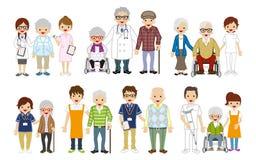 Medyczny zajęcie i seniora opiekun set ilustracji