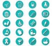 Medycznych ikon płaski projekt Nowożytnego długiego cienia ikony medyczny set Ilustracja Wektor