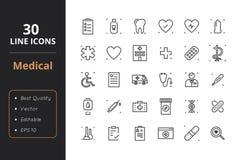 30 Medycznych Kreskowych ikon Zdjęcie Stock