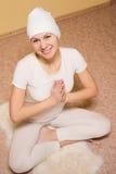 Medytacja, młoda kobieta w joga lotosu pozie Obrazy Royalty Free