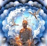 Medytacja w lotos pozie ilustracja wektor