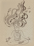 Medytować dziewczyny z kudłacącym włosy Zdjęcia Royalty Free