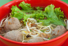 Mee Bakso. Malay style noodles in soup with beef balls Stock Photo