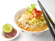 Mee Hoon Curry Laksa. (Laksa is a popular spicy noodle soup from the Peranakan culture, which is a merger of Chinese and Malay elements found in Indonesia Stock Image