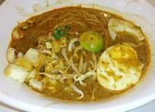 Mee Siam with egg and bean sprouts Royalty Free Stock Image