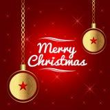 Meegespeelde Kerstmis Gouden ballen, sterren en rood Stock Foto