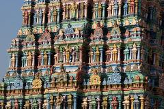 Meenakshi Hindu Temple In Madurai, Tamil Nadu, South India. Sculptures On Hindu Temple Gopura (tower). It Is A Twin Temple, One O Royalty Free Stock Photography