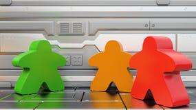 Meeples em uma nave espacial Jogos de mesa em ilustrações fantásticas dos ajustes um 3d ilustração do vetor