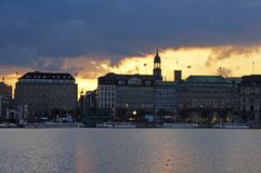 Meer Alster in Hamburg Stock Afbeeldingen