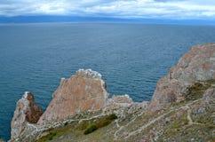 Meer Baikal in de herfst, Rusland stock foto's