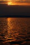 Meer Balaton bij het vallen van de avond 2. royalty-vrije stock afbeelding