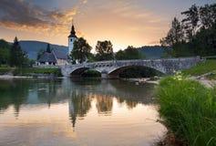 Meer Bohinj in nationaal park Triglav, Slovenië Stock Afbeeldingen