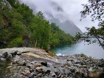 Meer Bondhus in het nationale park van Folgefonna, Hordaland-provincie, Noorwegen Stock Afbeelding