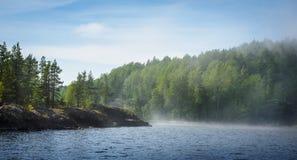 Meer, bossen en nevel over het water stock afbeelding