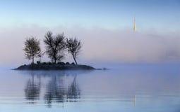 Meer Burley Griffin Island in de mist royalty-vrije stock fotografie