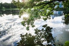 Meer in Catherine Park in Tsarskoe Selo Royalty-vrije Stock Foto