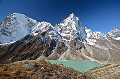 Meer Cholatse in trek Everest stock afbeelding